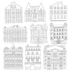 Historic old buildings line style. Outline old city building isolated set. architectural sketch.