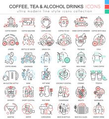 Vector coffee tea alcohol drinks color line outline icons for apps and web design. Drinks elements icons.