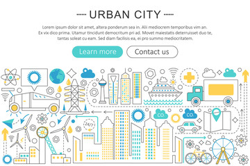 Vector modern line flat design Urban city concept. Urban modern smart city life icons Website Header, app design poster banner.