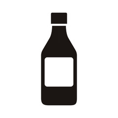 silhouette remedy big bottle with tap and label vector illustration