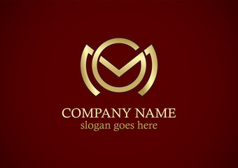 round line letter m gold company logo