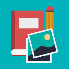 Book pencil and picture icon. Blog network multimedia technology social media and communication theme. Vector illustration