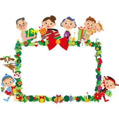 三世代家族とクリスマスフレーム