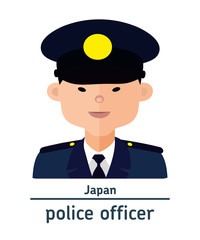 Avatar Japanese police officer on white background. Flat design.  Avatar for app