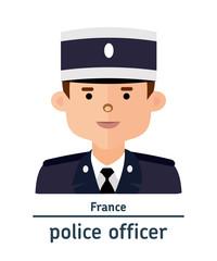 Avatar French police officer on white background. Flat design.  Avatar for app