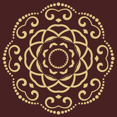 Oriental vector golden round pattern with arabesques and floral elements. Traditional classic ornament