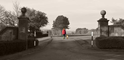 Girl Walking Dog Selective Colour Effect