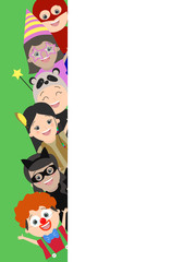 Background with children who look out from behind a corner. Vector cartoon