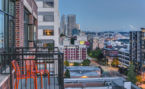 Patio Chairs offer view of Seattle at Blue Hour