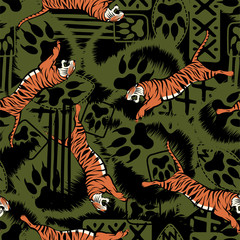 Wild tiger repeat seamless pattern