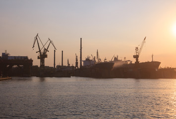Industrial  view of port at sunset, Gdansk, Poland
