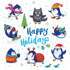 Holidays card with cute cartoon penguins