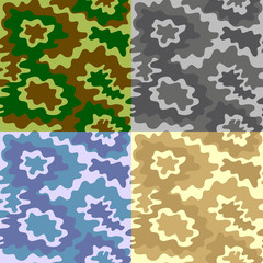 Army Soldier Camouflage Background Pattern Set. Vector