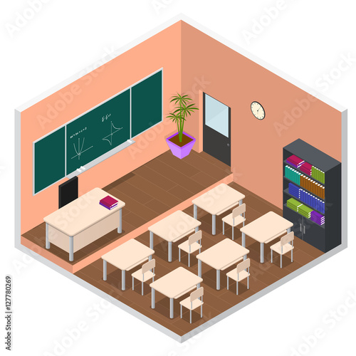 quotinterior classroom with furniture isometric view vector