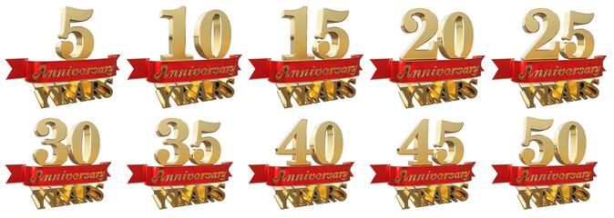 Set of golden anniversary signs, symbols. 3D illustration