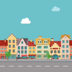 The street with facades of old buildings. Seamless pattern