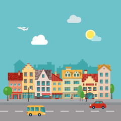 Small town urban landscape in flat design style. Illustration of a  street, made in  .