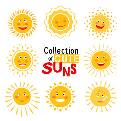 Yellow suns with happy smile collection on white background. Vector illustration