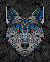Wolf head with colorful ornamental pattern design. Vector illustration