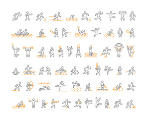 Vector line sports icons. Open path