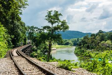 KANCHANABURI, TH - NOVEMBER 13: The River Kwai when seen from the train. Line Railway World War 2 The place was recorded in world history. November 13, 2016 in Kanchanaburi, TH