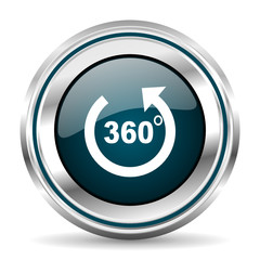 360 degrees panaorama vector icon. Chrome border round web button. Silver metallic pushbutton.