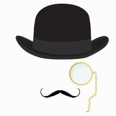 Gentleman hat, mustache and monocle