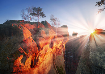 Wall Mural - Rocks at dawn Bubnyshche