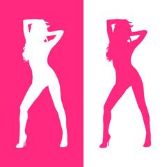 Icono plano silueta mujer sexy rosa y blanco