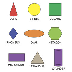 Set Geometric shapes. Suitable for educational posters for schools, books, home, educational centers or other.