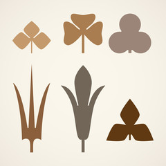 Decorative brown leaves pattern set isolated on white vector. Various shapes of green leaves. Elements for eco and bio logos