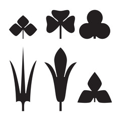 Decorative black leaves pattern set isolated on white vector. Various shapes of green leaves. Elements for eco and bio logos