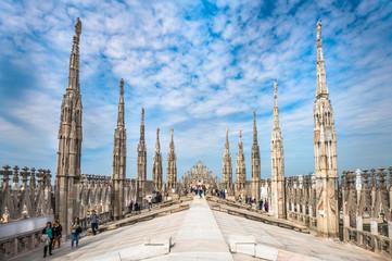 Dakterrassen van de kathedraal van Milaan, Lombardia, Italië