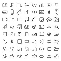 Multimedia thin line icons set on white background