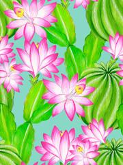 watercolor cactus illustration, seamless pattern.