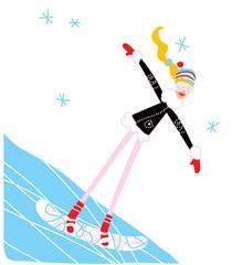 Snowboarding girl on the mountain. Vector illustration.