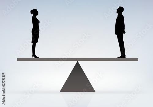 concept d 39 un homme et d 39 une femme en quilibre sur une balance pour revendiquer l galit des. Black Bedroom Furniture Sets. Home Design Ideas