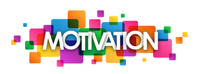 """MOTIVATION"" multicoloured vector letters icon"