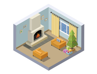 Vector isometric illustration of christmas eve room decoration.
