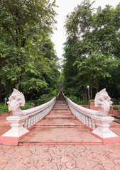 Naga raj steps at Khao Kradong Forest Park which is the extinct volcano, the attraction for tourists  in Buriram province, Thailand.