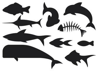 fish icons set (dolphin, carp, shark, whale, swordfish)