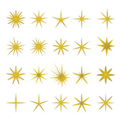 Vector illustration of golden sparks and elements