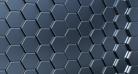The wall of hexagons. 3d rendered illustration.