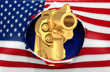 American Flag With A Pistol Concept