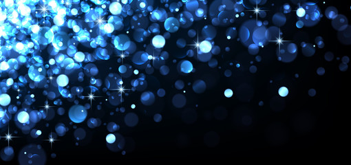 Abstract festive blue luminous background.