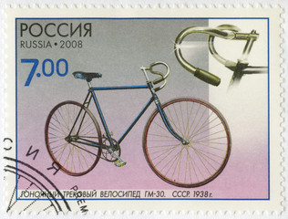 RUSSIA - 2008: shows Racing track bicycle GM-30, 1938