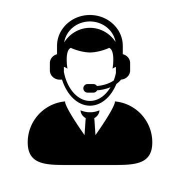 User Icon - Vector Customer Service, Support & Care with Headphone for Helpline Glyph Pictogram illustration