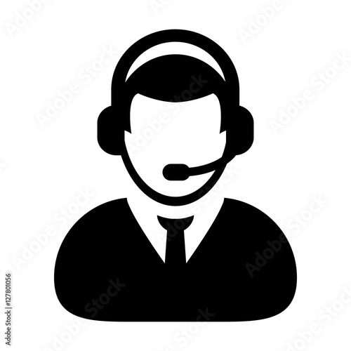 User Icon Vector Customer Service Support amp Care With Headphone For Helpline Glyph Pictogram