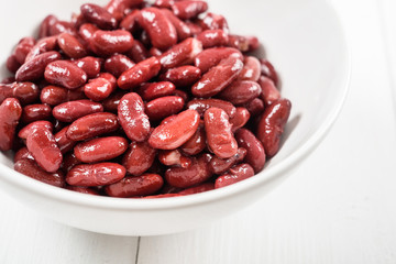 Canned Red Kidney Beans In White Bowl