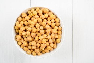 Chickpeas Bowl On White Background